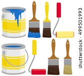 paint supplies  cans  brushes ... | Shutterstock .eps vector #499501993