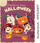 vintage halloween poster design ... | Shutterstock .eps vector #499525897