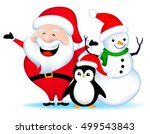 santa with snowman and penguin... | Shutterstock .eps vector #499543843