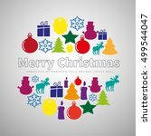 merry christmas flat line... | Shutterstock .eps vector #499544047