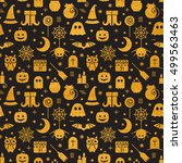 seamless halloween gold... | Shutterstock .eps vector #499563463