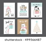 set of christmas cards with... | Shutterstock .eps vector #499566487