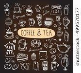 coffee and tea vector hand... | Shutterstock .eps vector #499570177