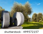 An Old Olive Press With Two...