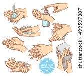 colorful sketch hands washing... | Shutterstock .eps vector #499597387