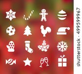 set of 16 christmas and happy... | Shutterstock .eps vector #499599967