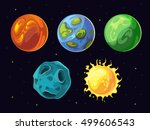 comic planets and stars vector... | Shutterstock .eps vector #499606543