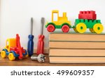 books and pencils on table  on... | Shutterstock . vector #499609357