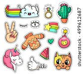 colorful vector patch badges... | Shutterstock .eps vector #499612687