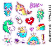 neon vector patch badges with... | Shutterstock .eps vector #499618663