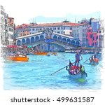 venice   grand canal. view of... | Shutterstock . vector #499631587