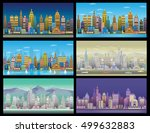 city game backgrounds set. | Shutterstock .eps vector #499632883