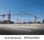 construction site with cranes... | Shutterstock . vector #499634083