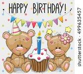 greeting card two cute cartoon...   Shutterstock .eps vector #499635457