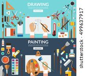 drawing and painting conceptual ... | Shutterstock .eps vector #499637917