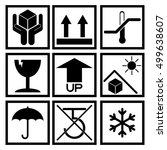 set of black packaging symbol ...