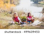 two sisters on a picnic on a... | Shutterstock . vector #499639453