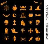 halloween icon set isolated on... | Shutterstock . vector #499664377