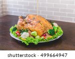 roasted turkey stuffing... | Shutterstock . vector #499664947
