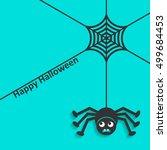 happy halloween card spider web ... | Shutterstock .eps vector #499684453