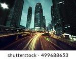 traffic in hong kong at sunset... | Shutterstock . vector #499688653