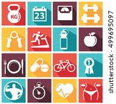fitness and health vectoe icons ... | Shutterstock .eps vector #499695097