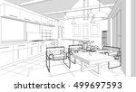 house  interior  sketch  3d... | Shutterstock . vector #499697593