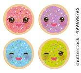kawaii frosted sugar cookies ... | Shutterstock .eps vector #499698763