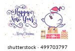 happy new year and merry... | Shutterstock .eps vector #499703797