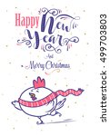happy new year and merry... | Shutterstock .eps vector #499703803