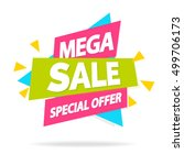 sale banner with sign mega sale ... | Shutterstock .eps vector #499706173