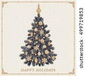 christmas tree. vintage... | Shutterstock .eps vector #499719853