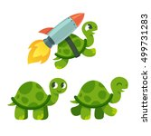 cute cartoon turtle set.... | Shutterstock .eps vector #499731283
