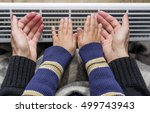 mother and son heating up a... | Shutterstock . vector #499743943