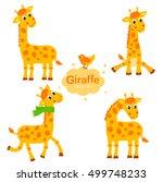 cute giraffe vector set.... | Shutterstock .eps vector #499748233