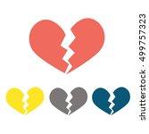 heartbreak   broken heart or... | Shutterstock .eps vector #499757323