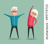senior people and gymnastics.... | Shutterstock . vector #499775713