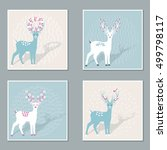 set of christmas cards with... | Shutterstock .eps vector #499798117