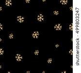 golden snowflakes seamless... | Shutterstock .eps vector #499803247