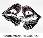 sexy beautiful couple kissing.... | Shutterstock .eps vector #499803727