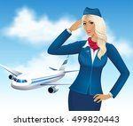 beautiful stewardess on the... | Shutterstock .eps vector #499820443