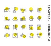 thin flat line business icons...