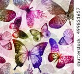 seamless pattern with blooming... | Shutterstock .eps vector #499831657
