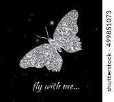 silver butterfly. vector... | Shutterstock .eps vector #499851073