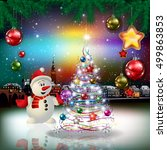 christmas greeting with... | Shutterstock .eps vector #499863853