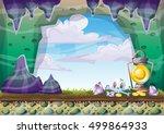 cartoon vector cave with... | Shutterstock .eps vector #499864933
