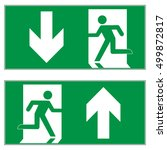 emergency exit downward ... | Shutterstock .eps vector #499872817