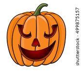 halloween pumpkin. funny face.... | Shutterstock .eps vector #499875157