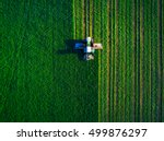 Tractor Mowing Green Field Aerial - Fine Art prints