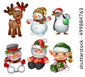 santa claus  reindeer  snowman  ... | Shutterstock .eps vector #499884763
